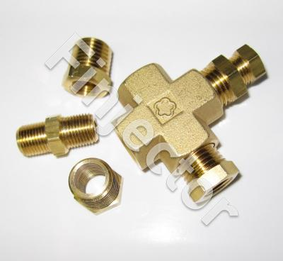 Adapter for oil pressure and oil temperature sensors, brass