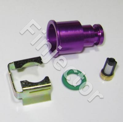 TOP adapter set for 11 mm dia (fuel rail). PURPLE, with filter, extends about 15 mm. For injector with 14 mm O ring. Anodized aluminium.