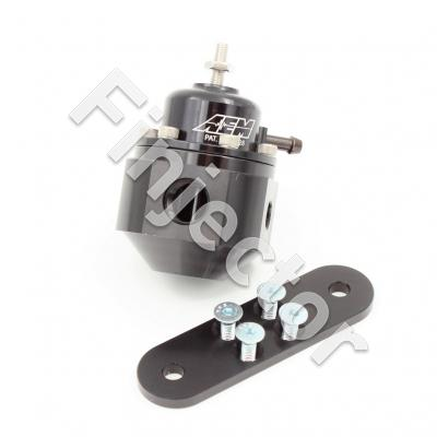 "Universal Adjustable Fuel Pressure Regulator. Black. Inlet: 2 X 6AN (9/16-18) Outlet: 6AN (9/16""-18) Gauge Port:: 1/8""NPT. Pressure range 20-150 Psi. (AEM 25-302BK)"