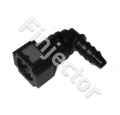 Female quick connector 90° of 7.9 mm tube. Output for 8 mm polyamide tube or hose.