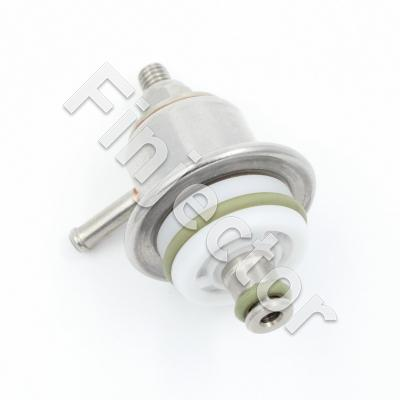 Adjustable fuel pressure regulator 1-5 bar, tip diameter 9 mm. Bosch mini size. Big return line diameter.