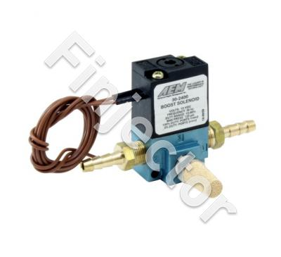 "Boost Control Solenoid Kit. Includes: Boost Control Solenoid, 2 X 1/8"" NPT to 3/16"" Barb Adapter & Muffler"