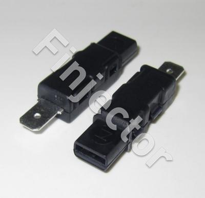 Diode 1A / 400V, IP54, 2 x 6.3 mm blade terminals, male and female