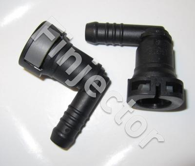 "Quick connector 90° for 9.5 mm (3/8"") pipe. Hose diam. 9.5/10 mm"