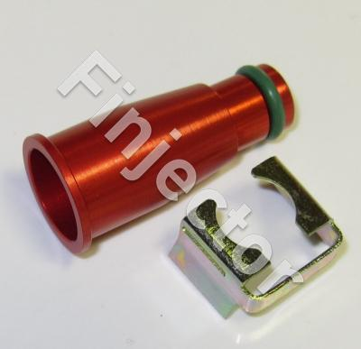 Top adapter 11 mm, long (+28 mm), red, anodized aluminium