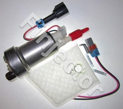 Genuine high flow Walbro intank fuel pump with intallation kit (pre filter + cable with connector). Flow capacity 416 l/h, output for 9.5 mm hose. Compatible with gasoline, E85 and RE85.