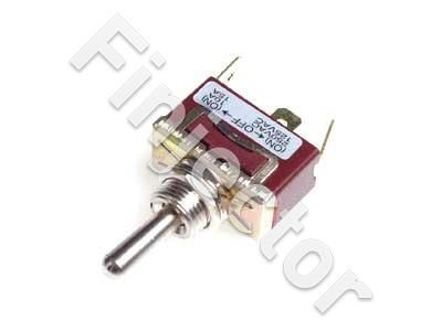 Spring return toggle switch. ON-OFF-ON. 6.3mm blade terminals