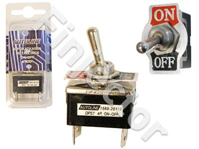 Toggle switch. ON-OFF. 4 pole. 6.3mm blade terminals