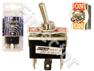 Metallic toggle switch. ON-ON 6 pole. 6.3mm blade terminals
