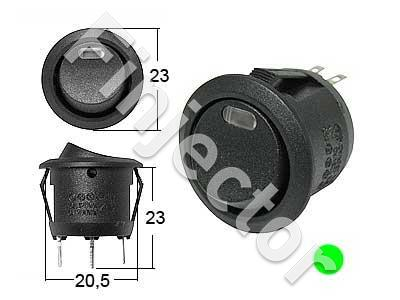 Round rockerswitch. 0-1 Green LED