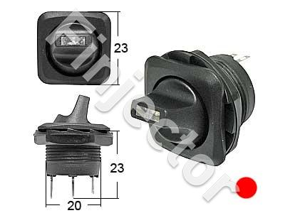 Round toggle switch. 0-1 Red LED, for 20,2mm hole