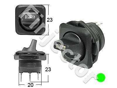 Round toggle switch. 0-1 Green LED, for 20,2mm hole