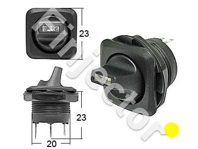 Round toggle switch, 0-1 Yellow LED. for 20,2mm hole.