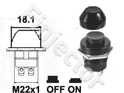 Push button switch with rubber booth, for 22mm hole