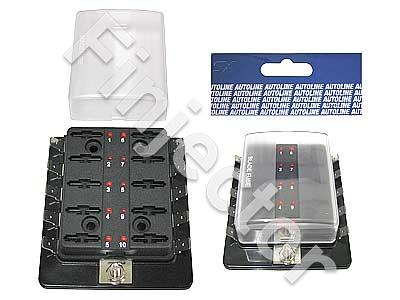 Fusebox for 10x GM fuse, one inlet, blade fuse sockets,LED light
