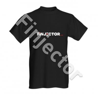 Shortsleeved Finjector.com T-shirt, Black, size XL. 100% cotton