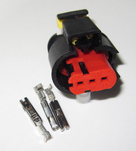 3 pole connector SET (0.5-1.5 mm2) for ignition coils (example Bosch P65, 0221504024)